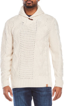 Weatherproof Shawl Collar Cable Knit Sweater