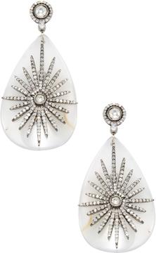 Amrapali Women's 18K Yellow Gold, Crystal Quartz & 1.85 Total Ct. Diamond Fan Drop Earrings
