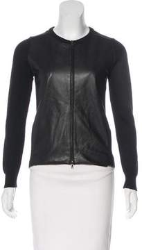 Barneys New York Barney's New York Leather Panelled Wool Jacket