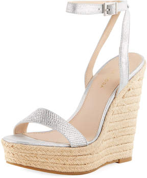 Pelle Moda Only Metallic Suede High Wedge Espadrille Sandal