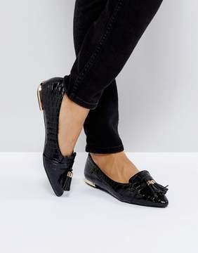 Miss KG Nikki Black Patent Tassel Ballet Flats