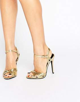 Public Desire Angel Knot Gold Heeled Sandals