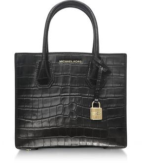Michael Kors Mercer Medium Black Embossed Croco Leather Crossbody Bag - BROWN - STYLE