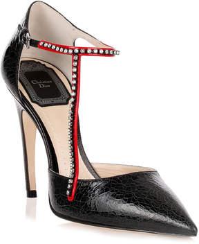 Christian Dior T-Strass black crackled pump