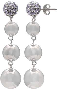 Brilliance+ Brilliance Silver Plated Disc Drop Earrings with Swarovski Crystals