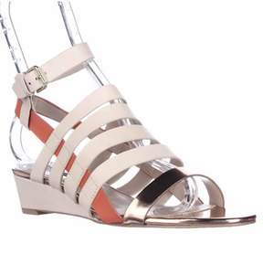 French Connection Winona Strappy Wedge Sandals, Barley Sugar/rose.