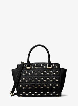 Michael Kors Selma Grommeted Quilted-Leather Satchel - BLACK - STYLE