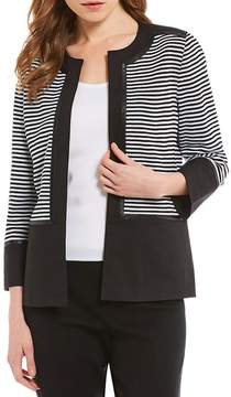 Ming Wang Faux Leather Trim Jacket