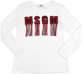 MSGM Fringed Logo Cotton Jersey T-Shirt