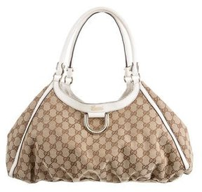 Gucci GG Canvas D-Ring Gold Hobo - BROWN - STYLE