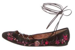 Etro 2017 Embroidered Lace-Up Flats w/ Tags