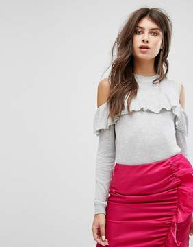 Fashion Union Knitted Sweater With Cold Shoulder & Frill Detail