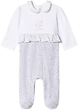 Mayoral White and Grey Stitched Bunny and Frill Babygrow