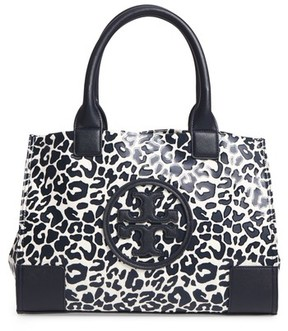 Tory Burch Mini Ella Leopard Print Nylon Tote - Blue - BLUE - STYLE