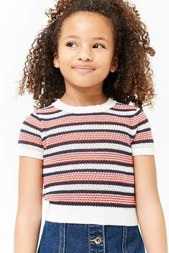Forever 21 Girls Striped Open-Knit Top (Kids)