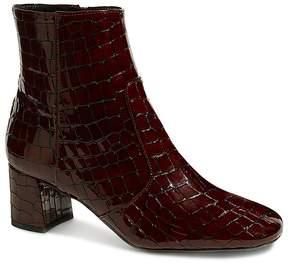 Karen Millen Women's Croc-Embossed Patent Leather Booties