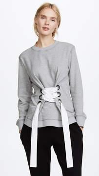 Derek Lam 10 Crosby Sweatshirt with Lacing Detail
