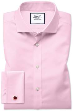 Charles Tyrwhitt Extra Slim Fit Spread Collar Non-Iron Twill Pink Cotton Dress Shirt French Cuff Size 14.5/32