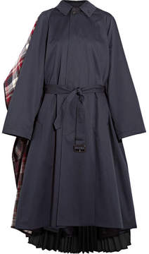 Balenciaga Convertible Cotton-twill, Plaid Wool-blend Felt And Pleated Crepe Coat - Navy