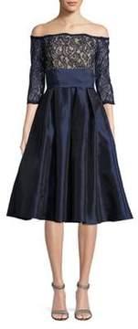 Eliza J Lace Off-the-Shoulder Dress