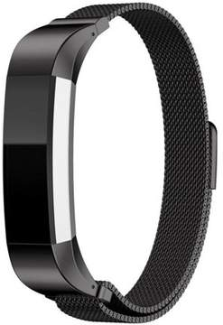 Fitbit YESOO Stainless Magnetic Milanese Loop Bracelet Replacement Watch Band For Alta Fitness Tracker (Black)