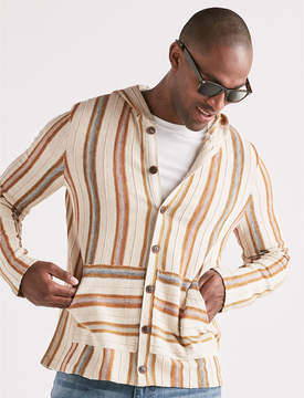Lucky Brand STRIPED BAJA BUTTON DOWN SWEATER