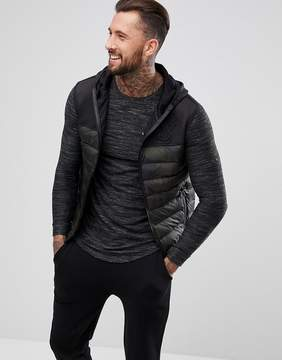 SikSilk Puffer Vest In Black With Camo Panel