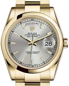 Rolex Day-Date Silver Dial 18K Yellow Gold Oyster Bracelet Automatic Men's Watch