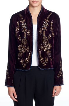 Catherine Malandrino Women's Winstead Embellished Velvet Jacket