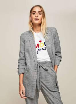 Blue checked ruched sleeve blazer
