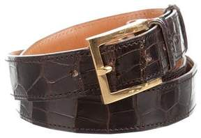 Hermes Gold-Tone Crocodile Belt