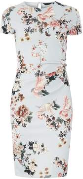 Dorothy Perkins Grey Floral Print Ruched Bodycon Dress