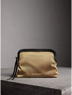 Burberry Large Zip-top Leather-trimmed Technical Nylon Pouch - GOLD/BLACK - STYLE