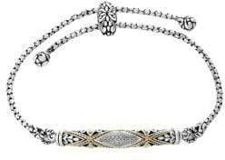Effy Diamond, 18K Yellow Gold and Sterling Silver Bolo Bracelet