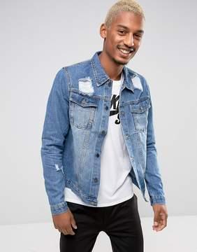 Criminal Damage Denim Jacket With Distressing