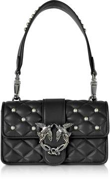 Pinko Mini Love Pearls Black Quilted Eco Leather Shoulder Bag