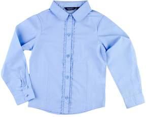 Chaps Girls 4-6x Ruffled Woven School Uniform Long-Sleeve Shirt