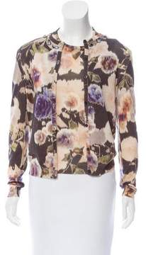 Christian Dior Floral Print Silk-Wool Cardigan Set
