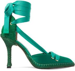 Castaner Manolo Blahnik By Night Satin And Raffia Pumps - Emerald