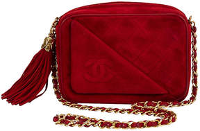 One Kings Lane Vintage Chanel Red Suede Camera Bag with Tassel