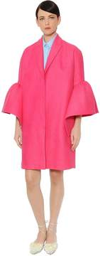 DELPOZO Ruffled Cuffs Linen Coat