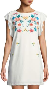 Dex Floral-Yoke Butterfly-Sleeve Crepe Mini Dress