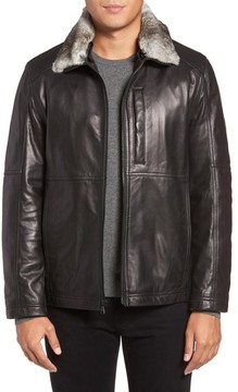 Andrew Marc Men's Lambskin Leather Jacket With Genuine Rabbit Fur Trim