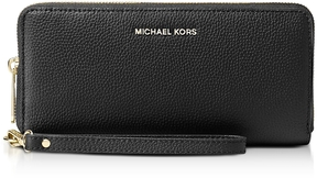Michael Kors Mercer Large Black Pebble Leather Continental Wallet - BLACK - STYLE