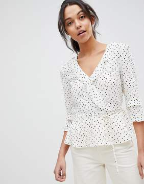 Oasis Polka Dot Frill Wrap Top