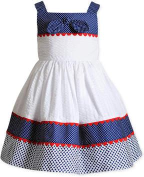 Sweet Heart Rose Printed Seersucker Sun Dress, Little Girls