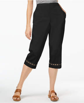 Alfred Dunner Barcelona Lace-Embellished Pull-On Capri Pants