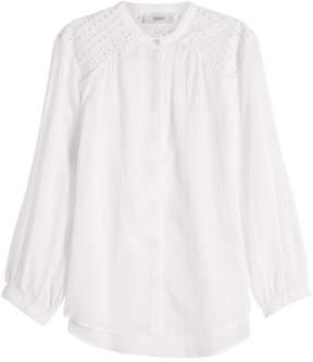 Closed Cotton Blouse with Cut-Out Detail