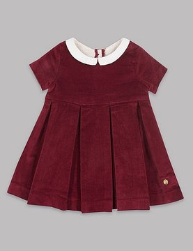 Marks and Spencer Velvet Contrasting Collar Pure Cotton Dress