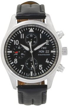 IWC Pilot Black IW377709 Chrono Black Dial Leather Automatic 43mm Mens Watch